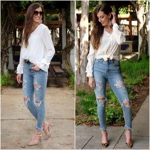 Denim - ✨RESTOCKED✨High Waist Distressed Skinny Jeans